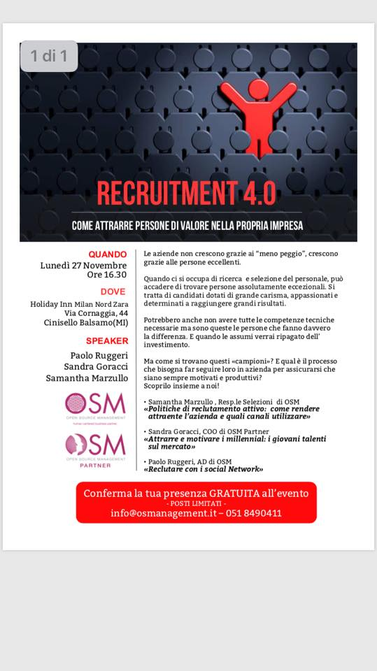 immagine RECRUITMENT 4.0 COME RECLUTARE I MILLENIALS, EVENTO DI MILANO